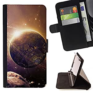 DEVIL CASE - FOR Samsung Galaxy S6 EDGE - Space Planet Galaxy Stars 27 - Style PU Leather Case Wallet Flip Stand Flap Closure Cover