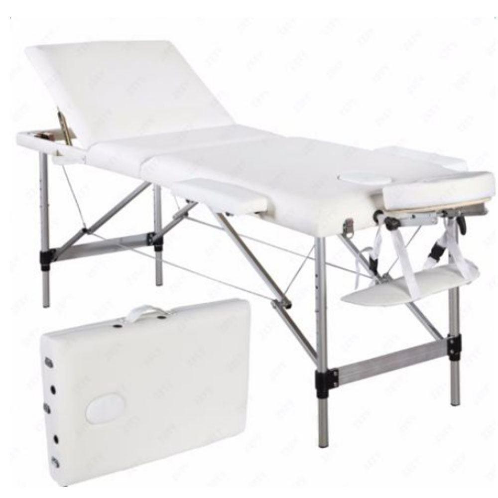 3 Fold Aluminum Massage Table Portable Facial SPA Bed Tattoo Beauty Equipment