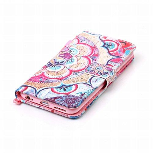 Yiizy Apple IPhone 6s Plus Funda, Pétalos De Colores Diseño Solapa Flip Billetera Carcasa Tapa Estuches Premium PU Cuero Cover Cáscara Bumper Protector Slim Piel Shell Case Stand Ranura para Tarjetas