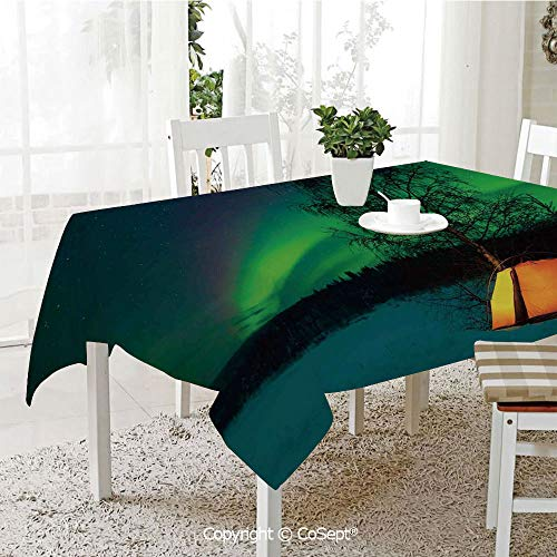 SCOXIXI Water Resistant Tablecloth,Camping Tent Under Magnetic Field Nature Picture,Washable Tablecloth Dinner Picnic Table Cloth Home Decoration(60.23