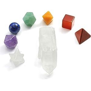 Bergkristall Spitze Chakra Chakren Anhänger 7 Edelsteine Energie 50 mm