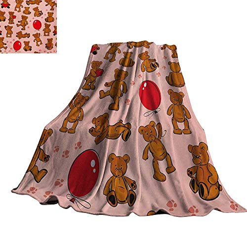 - Angoueleven Kids,Lightweight Blanket Vintage Teddy Bear Pattern Paws Footprint with Balloon and Hearts Party Throw Rug Sofa Bedding 70