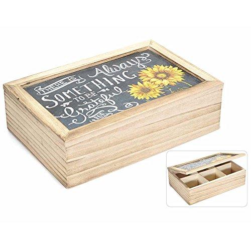 Boîte en bois avec 6 compartiments avec écriture et tournesols. 51.28.38 TE 'THE' TISANE www.lefantasiedicasa.com