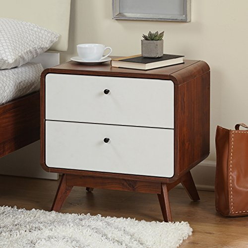 Price comparison product image Retro-Styled 2-Drawer Night Stand,  Rounded Edges,  Angled Legs,  Solid Wood Legs and Laminated Particle Board,  Assembly Required,  Bold Accent,  Extra Storage Space White Drawer Front,  Walnut Finish