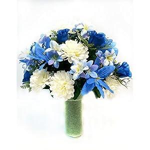 Chrysanthemums & Blue Lilies Spring Cemetery Cone Arrangement 69