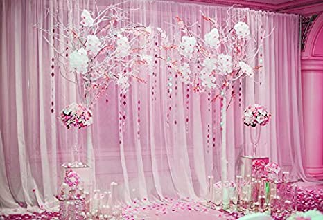 Laeacco Photography Background 10x65ft Wedding Ceremony Decoration Pink Tone Curtain Arch Flowers Bouquet Marriage Celebration Elegant Background