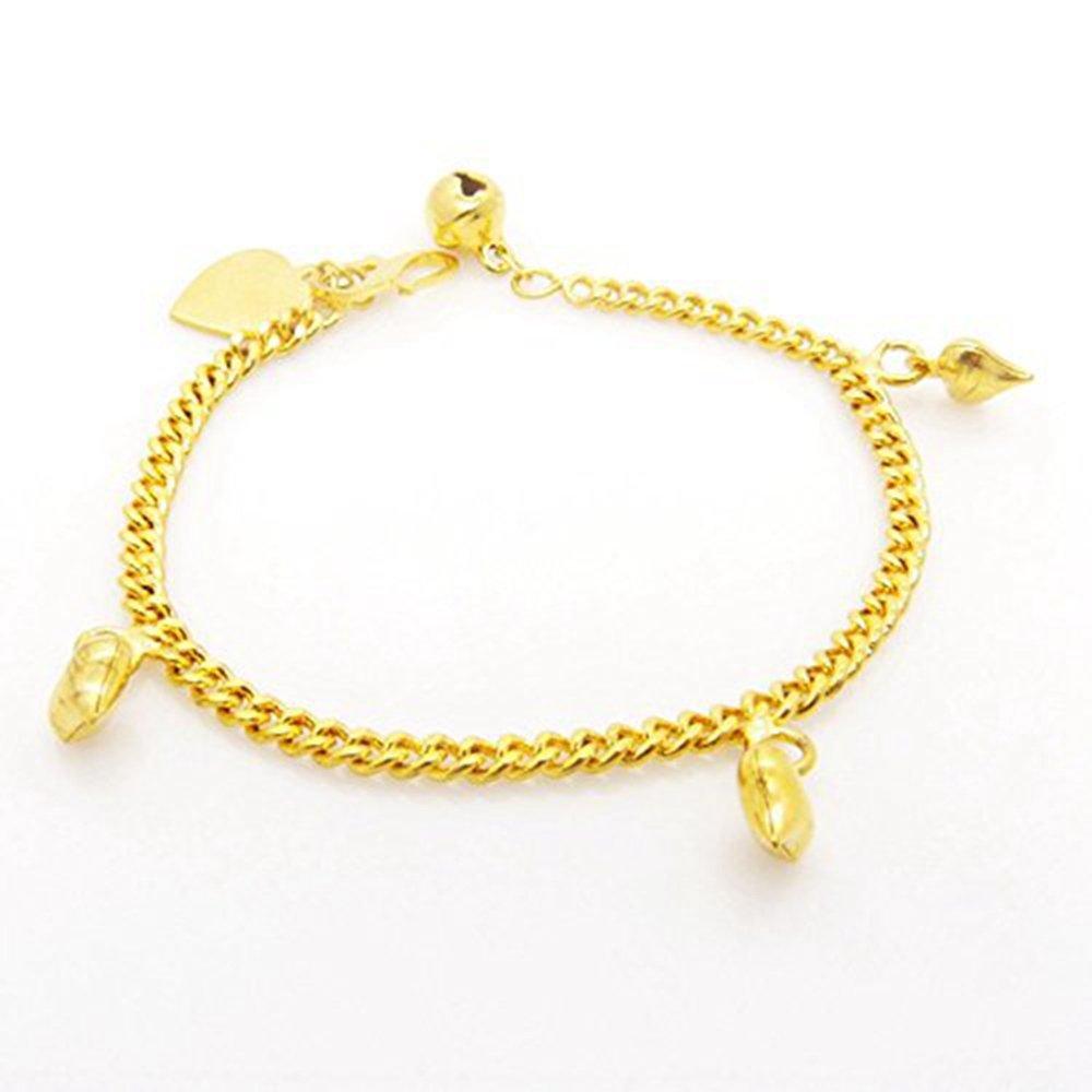 Skyjewelry Heart Bracelet 18k Yellow Gold Plated Lovely Childens Chain Bracelet/anklet Link