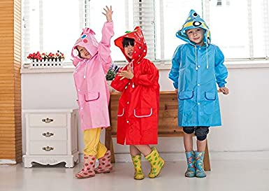 EZB Childrens Unisex Animal 3D Raincoat Mac