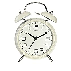 Peakeep 4 Twin Bell Alarm Clock with Stereoscopic Dial, Backlight, Battery Operated Loud Alarm Clock