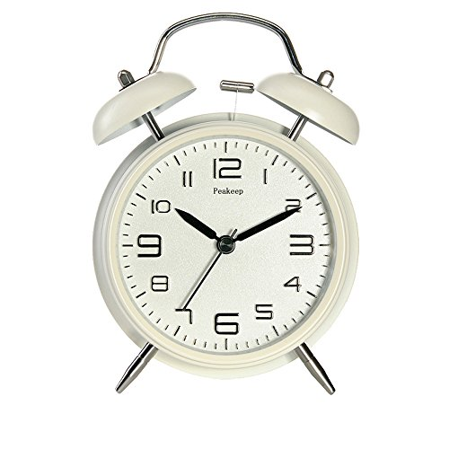 Peakeep 4' Twin Bell Alarm Clock with Stereoscopic Dial, Backlight, Battery Operated Loud Alarm Clock