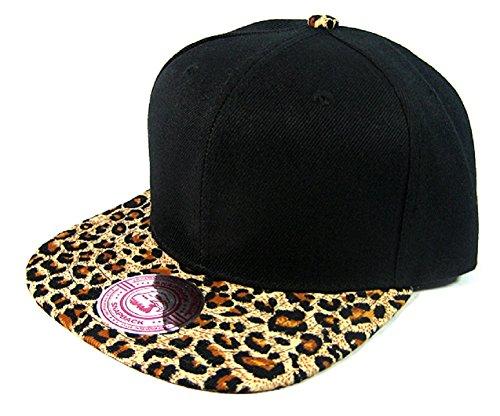 - 2 Tone Black & Cheetah / Leopard Print Snapback Hat Cap