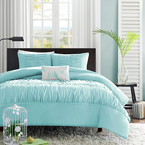 Mi-Zone Mirimar Duvet Cover Full/Queen Size - Aqua, Pleated Ruched Ruffles Duvet Cover Set – 4 Piece – Ultra Soft Microfiber Light Weight Bed Comforter Covers