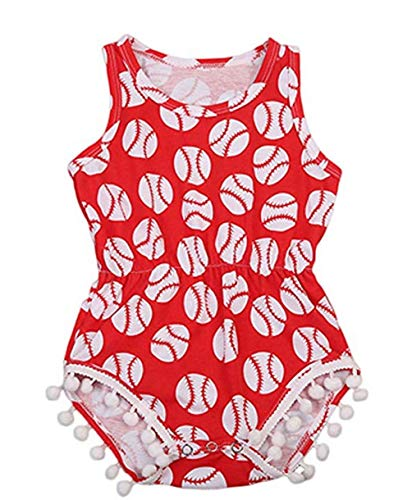 - Tianve Newborn Baby Girls Baseball Pompom Rompers Jumpsuit Bodysuit Sunsuit (0-6 Months) Red