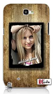 Personalized DIY Custom Distressed Wood Grunge Texture Frame with Image Photo & Name Unique Quality Hard Snap On For Case Samsung Note 3 Cover (WHITE)