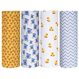 Cuddles & Cribs Cotton Flannel Receiving Blankets - 4 Count, Happy Friends