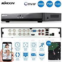 KKmoon 8CH Channel Full 960H/D1 DVR HVR NVR HDMI P2P Cloud Network Onvif Digital Video Recorder + 1TB Hard Disk support Plug and Play Free CMS Browser View Motion Detection Email Alarm PTZ