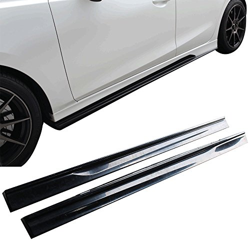 Side Skirts Fits 2014-2018 Mazda 3 | K-Style Unpainted Black ABS Plastic Step Extension Lip Splitters By IKON MOTORSPORTS | 2015 2016 2017