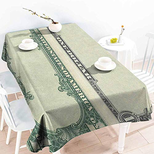 (familytaste Money,Tablecloth Stain Resistant One Dollar Bill Buck Design American Federal Reserve Note Pattern Wealth Symbol 60