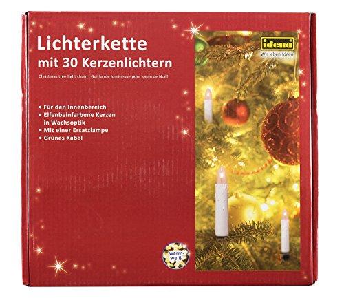 Idena 8582169 - Kerzenlichterkette, 30er warm weiß, für innen