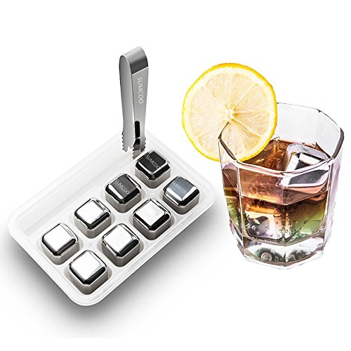 SUMCOO 8 Set Dry-Ice Stainless Steel Reusable Wine Ice Cubes,Whiskey Chiller, Whiskey Stones ,Sipping Stones and Wine Chiller (SW-01)