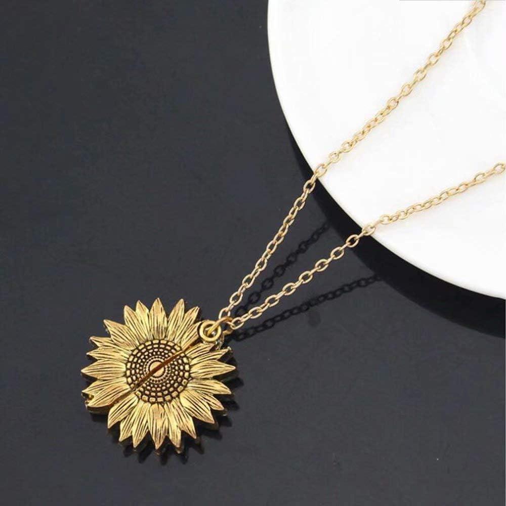 nisake Collier You are My Sunshine Collier Pendentif Tournesol avec M/édaillon Ouvert Lettrage Charms Bijoux Argent//Or