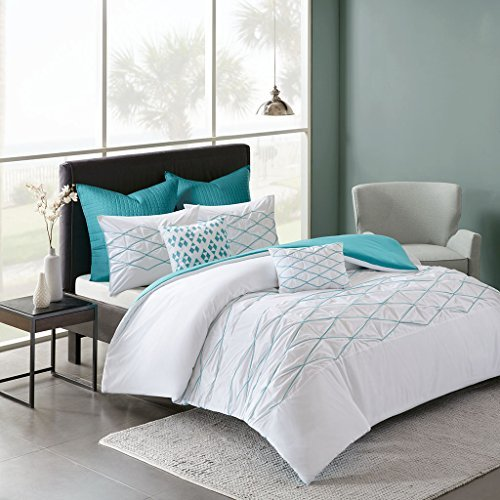 Sunita 7 Piece Cotton Duvet Cover Set White/Aqua Full/Queen