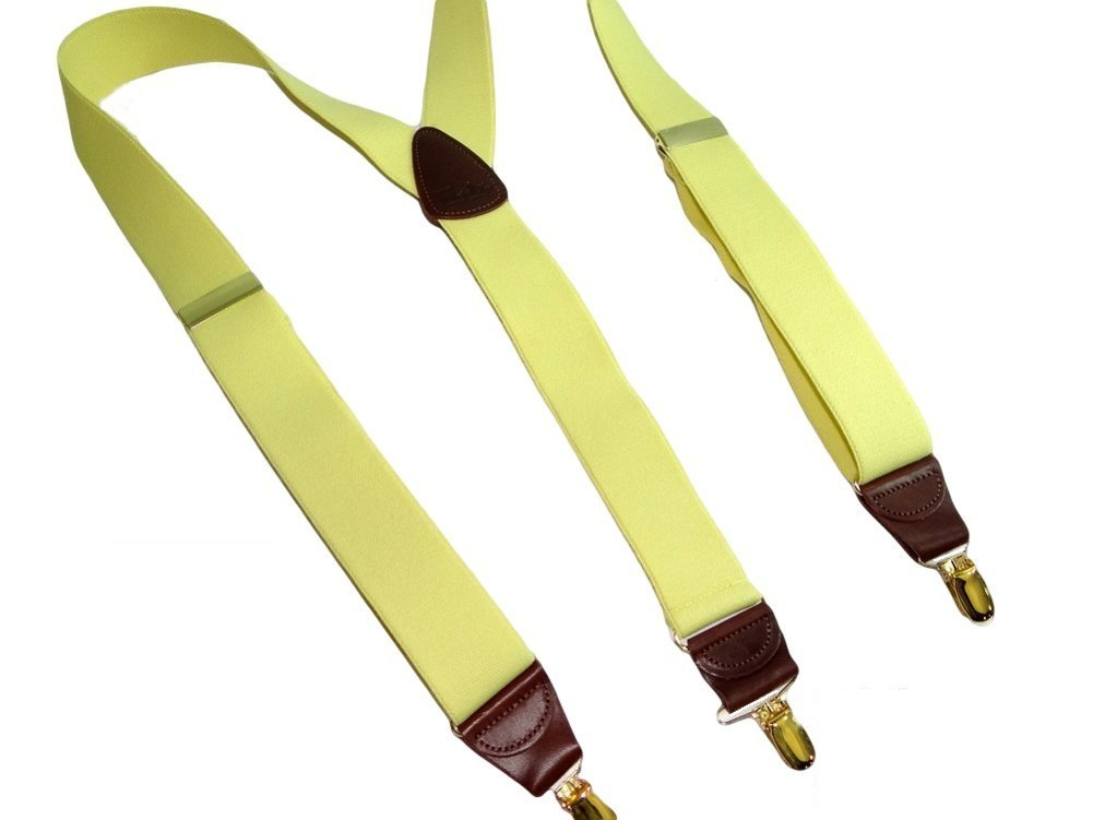 Hold-Ups Lemon Yellow Suspenders 1 1/2'' wide in Y-back with No-slip Gold Clips