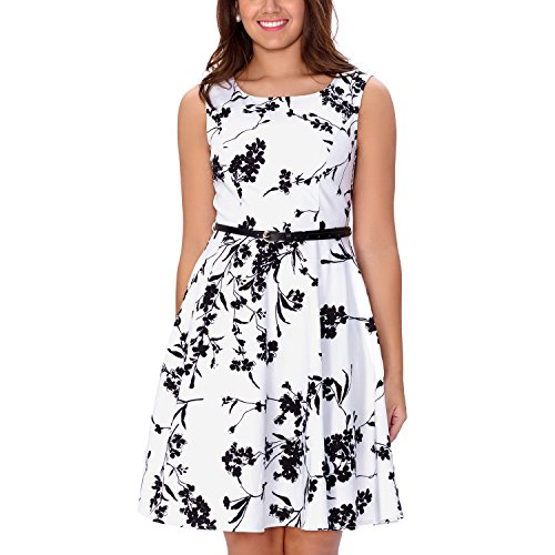 One Sight Women's Vintage 1950's Floral Dress Boat Neck Sleeveless Party Cocktail Dress, White - Sight One