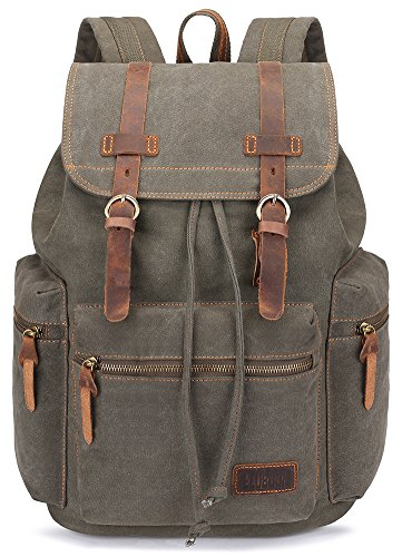 BLUBOON Canvas Vintage Backpack Leather Casual Bookbag Men Rucksack (Green)