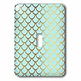 3dRose (lsp_266919_1) Single Toggle Switch (1) Sparkling Blue Luxury Elegant Mermaid Scales Glitter Effect Art Print