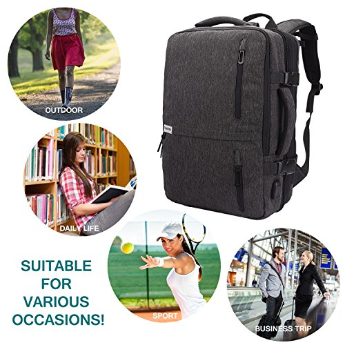 Lifeasy Travel Backpack, 35L Carry-On Daypack Flight Approved Laptop Expandable Weekender Multipurpose Trip Bag Business Backpacks with USB Charging Port Grey by Lifeasy (Image #8)