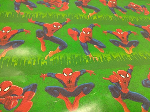 Christmas Wrapping Holiday Paper Gift Greetings 1 Roll Design Festive Wrap Spiderman Spider Man Green