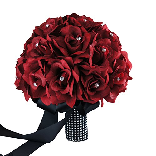 Classic Bridal Bouquet - Apple Red Rose with Rhinestone Black Ribbon with Bling Accents