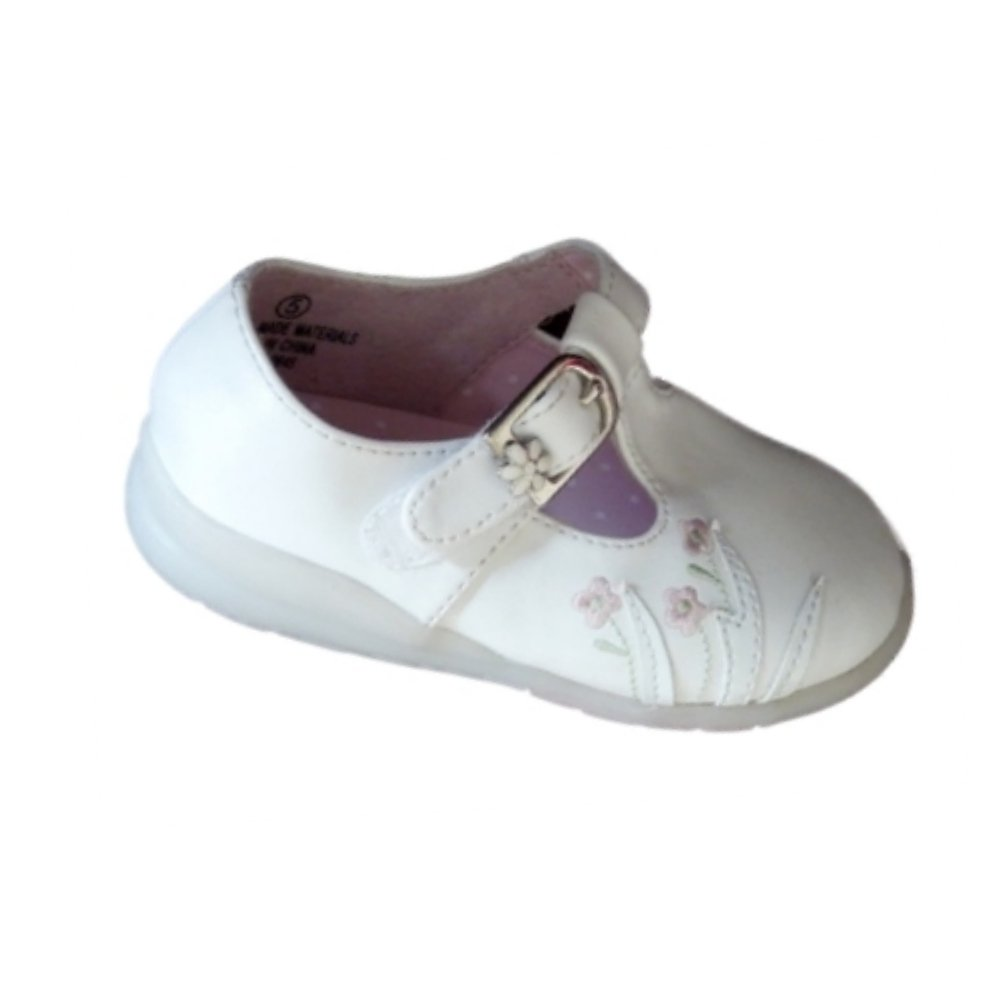 Cherokee Jaclyn Infant Girls White Mary Janes Comfy Baby Dress Shoes