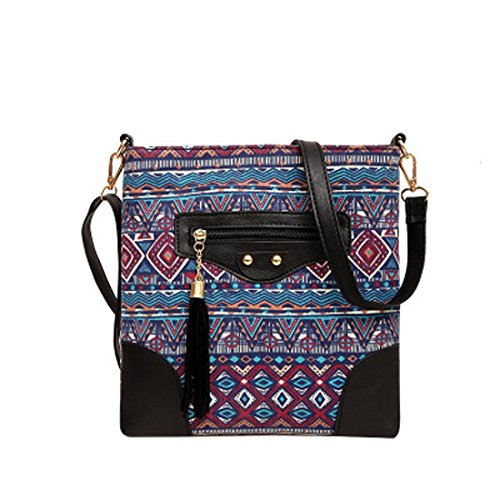 Women's Canvas Hand Bag Shoulder Bag Printing Ethnic Tassel Black Zipper (Color : 2) by WTING