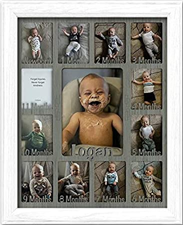 Northland Baby First Year Personalized Frame Oak Frame White Insert Customizable with Any Name Holds Twelve 2.5 x 3.5 Newborn Photos and 5 x 7 One Year Picture