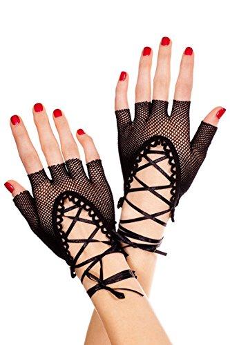 iecool Women's Black Lace up Wrist Fishnet Gloves Black One (Lace Up Black Fishnet Gloves)