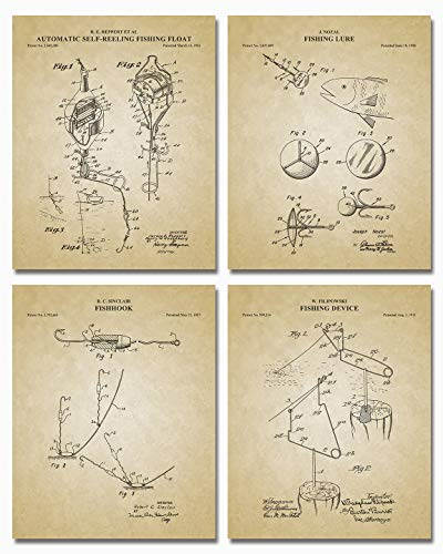 "Antique Fishing Float, Lure, Hook and Device Drawings, Wall Art Posters - Great Vintage Room Decor - 8"" x 10"" Set of 4 Unframed Patent Prints - Unique Gift for Fishing Enthusiast, Lake House and Cabin"