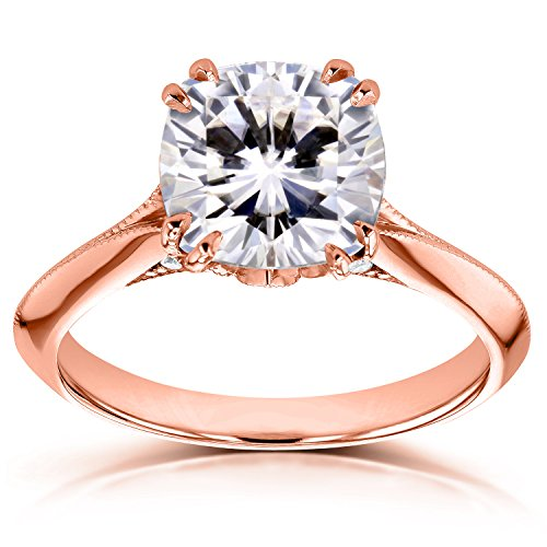 Moissanite (FG) and Diamond Engagement Ring 2 7/8ct TCW in 14k Rose Gold, 11