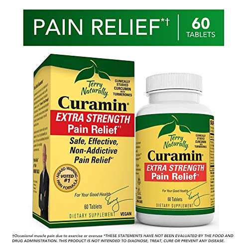 Terry Naturally Curamin Extra Strength – 60 Vegan Tablets – Non-Addictive Pain Relief Supplement with Curcumin from Turmeric, Boswellia DLPA – Non-GMO, Gluten-Free – 20 Servings