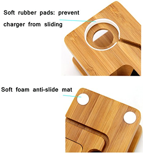AICase Bamboo Wood USB Charging Station, Desk Stand Charger, 3 USB Ports 3.0 Hub, for iPhone 7/7Plus/6s/6/Plus/5s & 38mm/42mm Apple Watch, Samsung & Most Smartphones (Bamboo Wood) by AICase (Image #3)