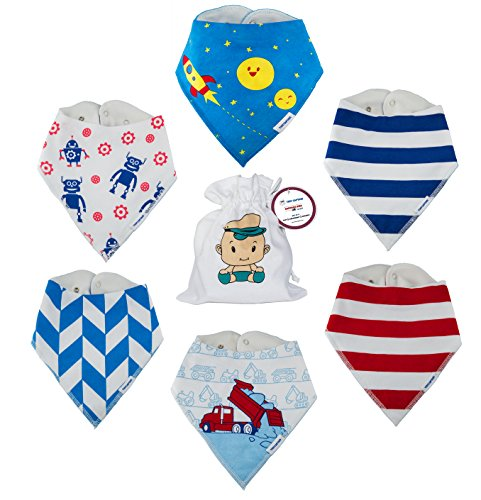 [Baby Bandana Bibs For Boys Best Baby Boy Gift Set, Drool Bib, Super Absorbent 100% Organic Bibs TPU 3 Layers Burp Cloths Newborns Infant Toddlers (6 Pack+Bag) From Tiny Captain (Red and] (Banana Baby Infant Costumes)