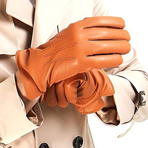 Mens Luxury Nappa Lambskin Leather Gloves(100% Wool Lining),Tan,Large