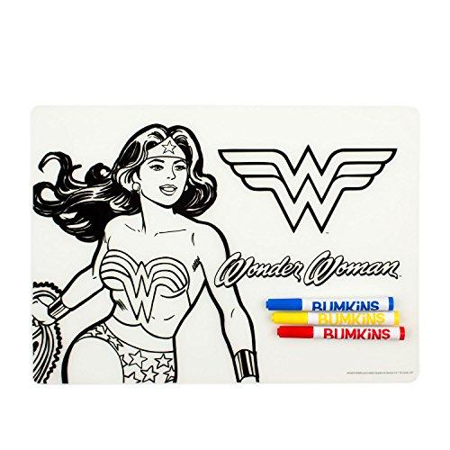 (Bumkins Reusable Silicone Coloring Placemat, DC Comics, Wonder Woman)