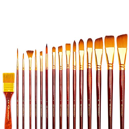 (Transon Art Paint Brush Set with Brush Case Assorted 16pcs for Watercolor, Acrylic, Gouache, Oil Painting, Tempera and Body Painting)