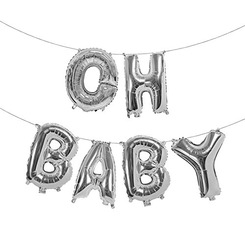 Treasures Gifted 16 Inch Oh Baby Balloons Letters Gender Reveal Banner Sign in Silver Foil Mylar Alphabet Announcement Party Supply Decorations for a Little Girl or Boy