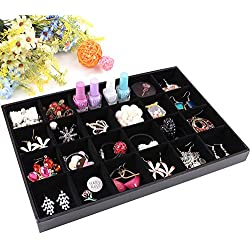 Wuligirl 24 Grid Jewelry Trays Removable Display Showcase for Rings Earring Brooch Buttons Stackable Black Velvet (24 Grid Jewelry Tray)