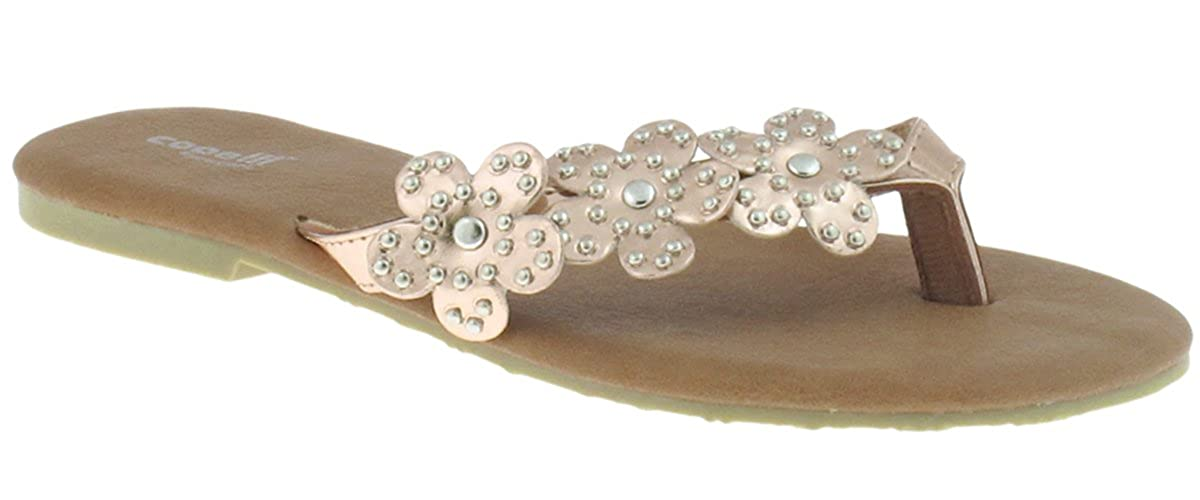Ladies Fashion Flip Flop With Studded Flower Thong