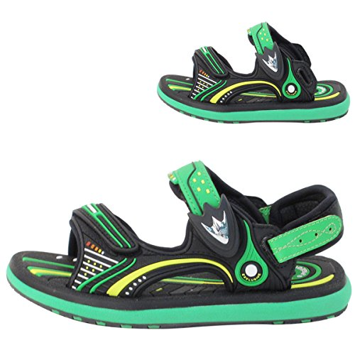 Gold Pigeon Shoes GP Classic Snap Lock Sandal Kids: 8669 Black & Green, EU29 (Old - Magnetic Gold Lock