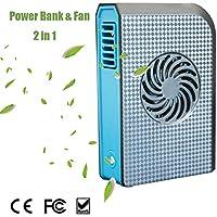 Joysoul Power Bank Cooling Fan, Portable Bladeless 3 speed Travel Fan Pocket Fan Desk Box Fan, 6000mAh Power Bank Rechargeable Fan for Home Office Travel Daily Use (Black1)